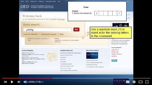 OED Crossword Helper Video