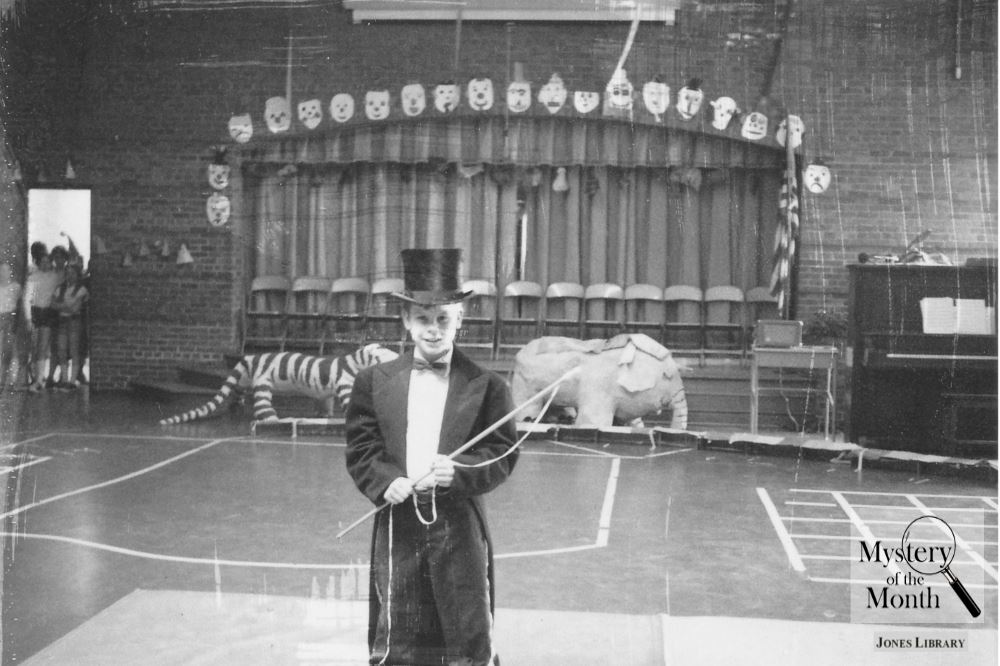 Student ringmaster at an elementary school event