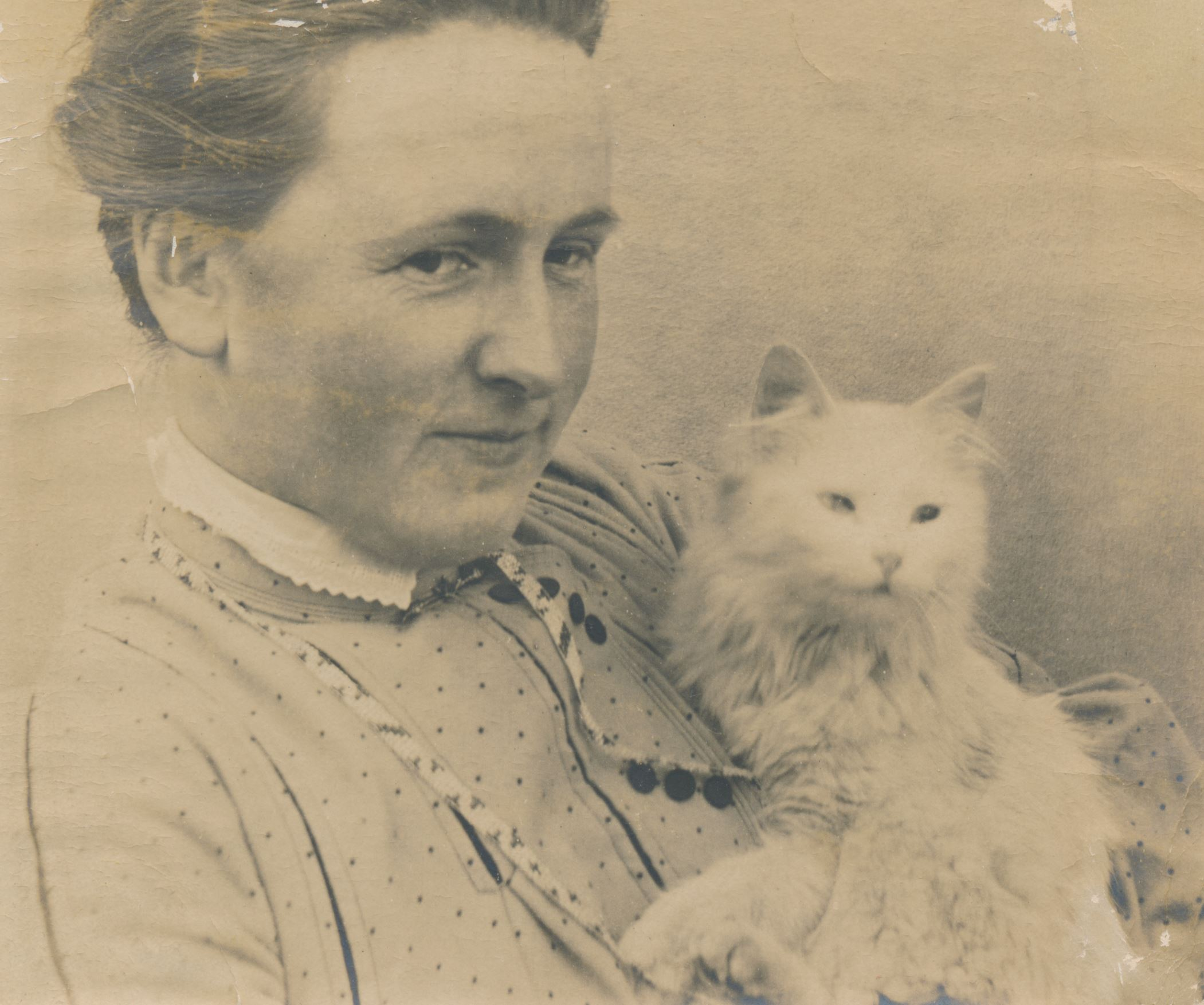 Florence Howland with cat