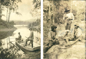 Left: Arthur and Roger Johson fishing; Right: 3 African-American boys