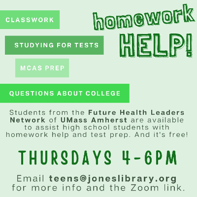free homework help for high school students on thursdays from 4 to 6 pm