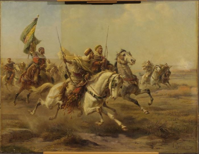 """Arabs Mounted in Battle"" during the cleaning process"