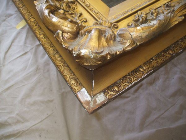 Detail showing a corner of the Beechey frame before treatment