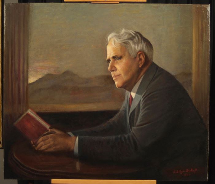 Portrait of Robert Frost prior to conservation treatment and out of its frame