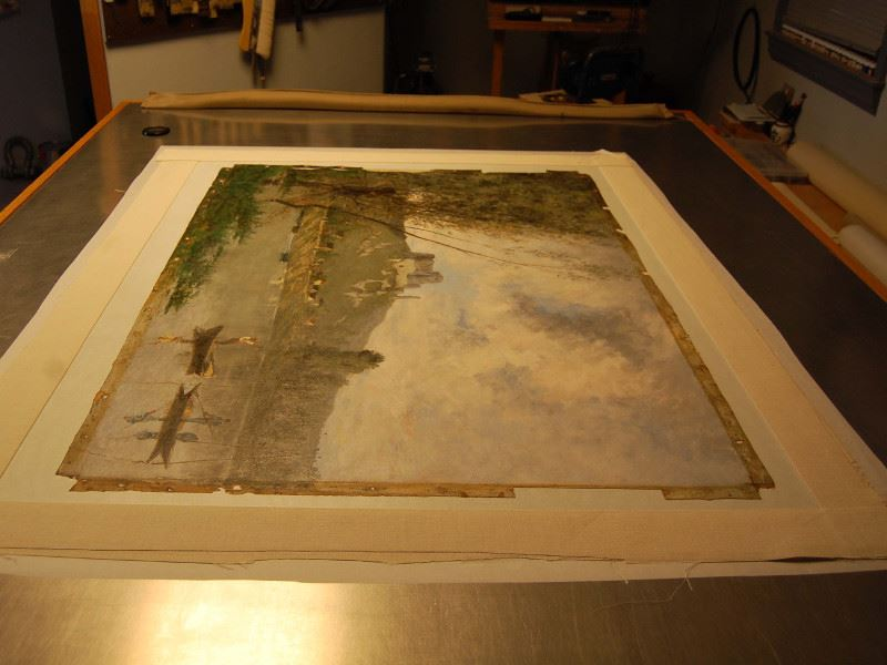 The process of lining the &#34Banks of the Marne&#34 painting