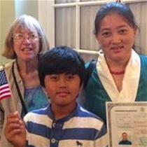 Dekyi Paldon & son Tenzin with tutor Valerie Gracechild